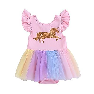 AlwaysFun Newborn Toddler Baby Girls Ruffle Sleeve Unicorn Cartoon Rainbow Skirt Tutu Romper Dress Sundress