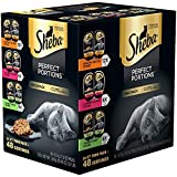 SHEBA PERFECT PORTIONS Grain Free Wet Cat Food Cuts in Gravy Roasted Chicken, Gourmet Salmon, Tender Turkey Variety Pack, (24) 2.6 oz. Twin-Pack Trays