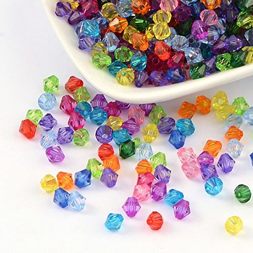 1000pc Wholesale Assorted Multicolor Acrylic Faceted Bicone Spacer Beads (Acrylic 6 Mm Bicone)
