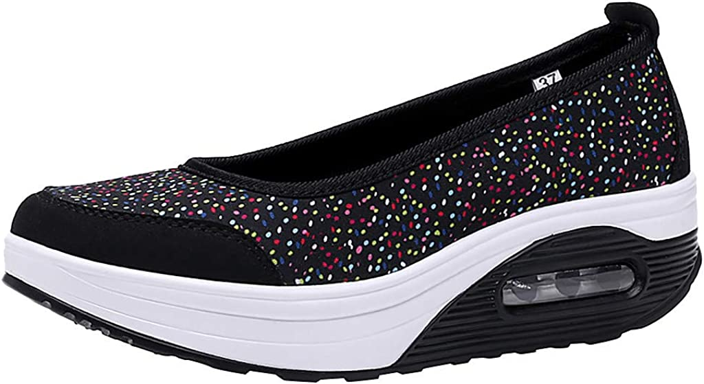 Emimarol Women's Mesh Slip On Air Cushion Lady Girls Dance Easy Shoes Platform Loafers