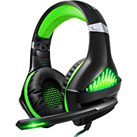 BlueFire Upgraded Professional PS4 Gaming Headset 3.5mm Wired Bass Stereo Noise Isolation Gaming Headphone with Mic and LED Lights for Playstation 4, Xbox one, Laptop, PC(Green)