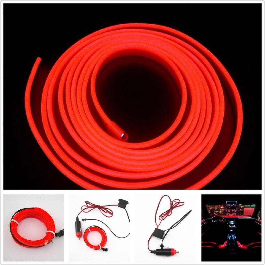 red 2M RED EL-Wire 12V Car Interior Decor Fluorescent Neon Strip Cold light Tape