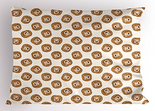 Lunarable Lion Pillow Sham, Cartoon Style Animal Portraits Kings of The Forests of Africa Giant Mammal Pattern, Decorative Standard King Size Printed Pillowcase, 36 X 20 inches, Brown Beige by Lunarable