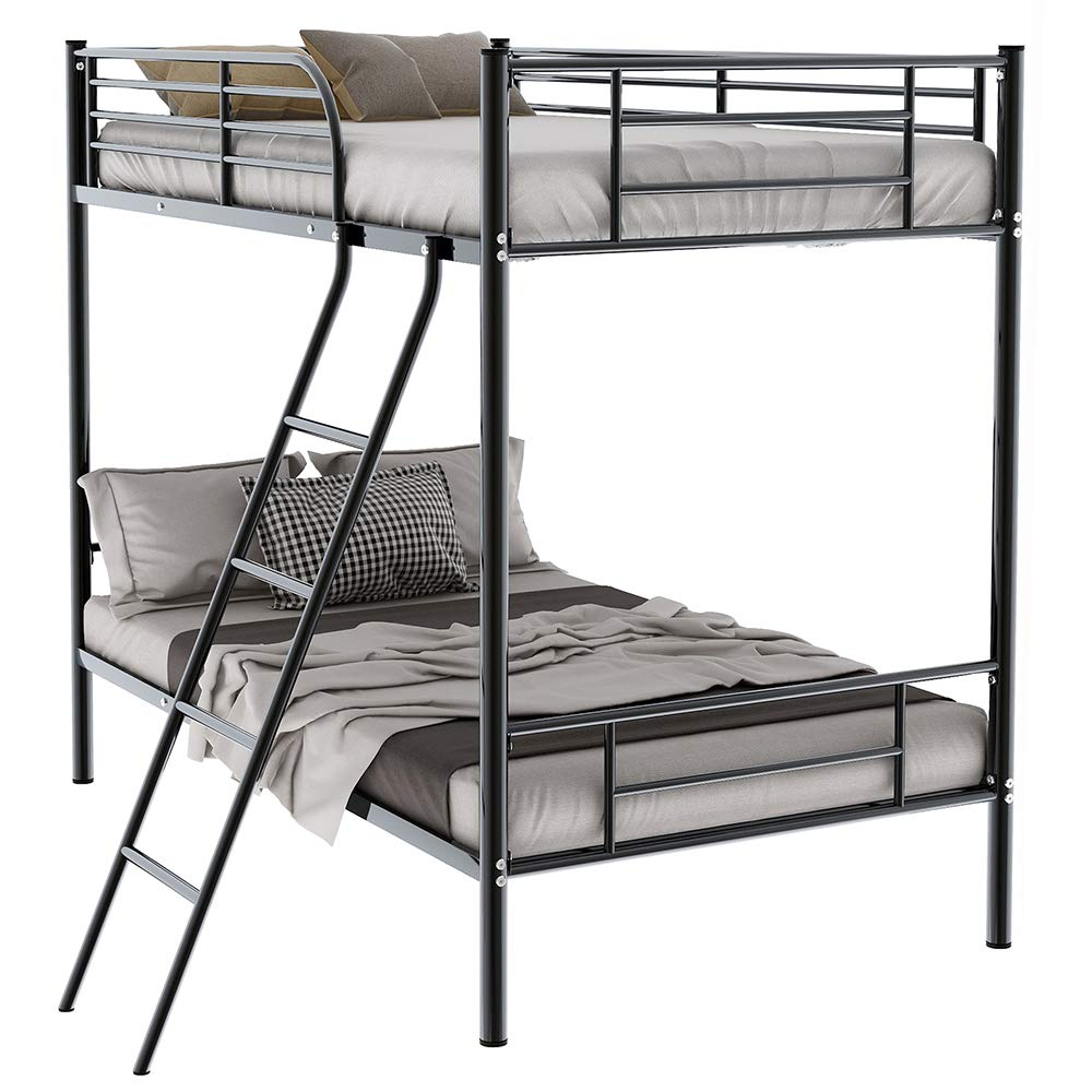 Romatpretty Twin Metal Bunk Bed with Ladder Heavy Duty Bed Frame for Kids Bed Bedroom Space-Saving Design with Safety Guard Rails-Black