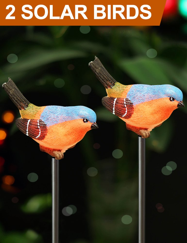 Bright Zeal [Set of 2] LED Bird Figurines Color Changing Solar Stake Lights Outdoor - Garden Stakes Decorative Birds - Garden Figurines Outdoor Solar Decor Garden - Patio Lights LED Color Changing