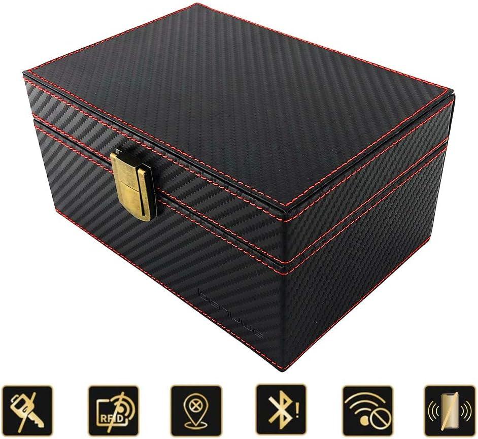 BENVWE Caja de Bloqueo de señal de Llave de Coche con Gran Capacidad, Caja de Bloqueo de señal de Llamada y RFID, Caja de Seguridad para teléfono móvil, Tarjetas, Llaves de Coche: