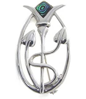 Sterling Silver Rennie Mackintosh Brooch with antique oxidized finish - SIZE: 21mm x 39mm. Gift Boxed - 9105/B53HN CAk39R