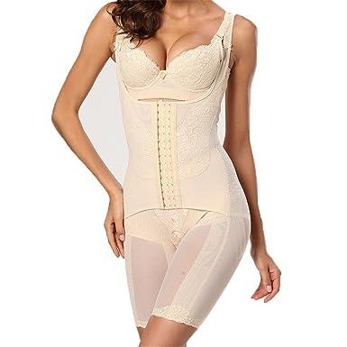83d81f50efbd4a Obaile Women s Full Body Shaper Waist Cincher Thigh Reducer Bodysuit  Shapewear Beige