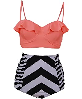 5584cd6c1a91a Fashion-Plus Moda clásico Cintura Alta Bikini Set de la Mujer Floral  Strappy Push Up