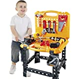 Young Choi's Kids Construction Toy Power Workbench for Boys, 120Piece Toddlers Power Tool Bench Construction Play Set with Tools & Toy Drill, Boys Pretend Play Toy Workshop Tools for Kids