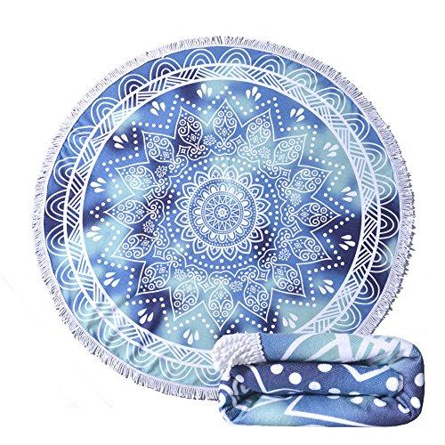 Utridevn Circle Beach Towel,Quick Dry,1.32LBS,61 inch,Large Mandala Microfiber Round Blanket(No.7)