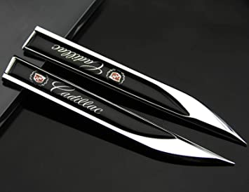 NEW 2Pcs Auto Car Black Sports Racing Dagger Fender Emblems Sticker Badge Decal