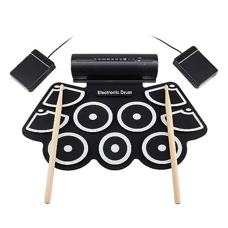 Enrolle Drum Pad Electrónico Portátil Portable MD760 Roll Up Electronic Kit de batería MIDI 9 almohadillas