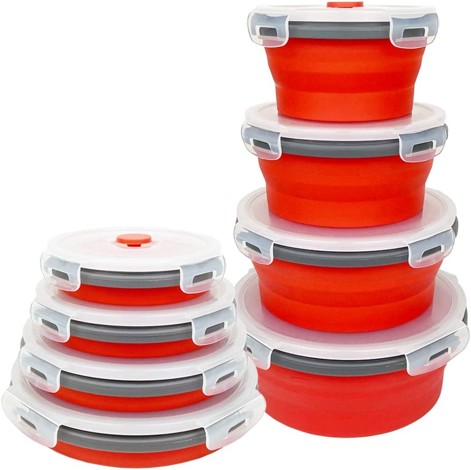 CARTINTS Red Collapsible Food Storage Bowls Silicone Travel Bowls with Leakproof Lids, Microwave and Freezer Safe, Set of 4