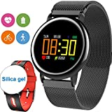 [2Band Steel&Silicone]Sport Fitness Tracker Smart Watch for Men Father Day Women IP67 Waterproof Heart Rate Blood Pressure Pedometer Sleep Monitor Activity Tracker Swim Run Outdoor iOS Android (Red)