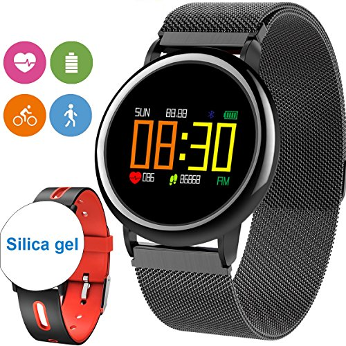 [2Band Steel&Silicone]Sport Fitness Tracker Smart Watch for Men Father Day Women IP67 Waterproof Heart Rate Blood Pressure Pedometer Sleep Monitor Activity Tracker Swim Run Outdoor iOS Android (Red) by GreaSmart
