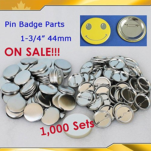 1000sets 1-3/4'' 44mm Metal Pin Badge Button Parts Supplies for N3 N4 on Sale!! by Button Maker