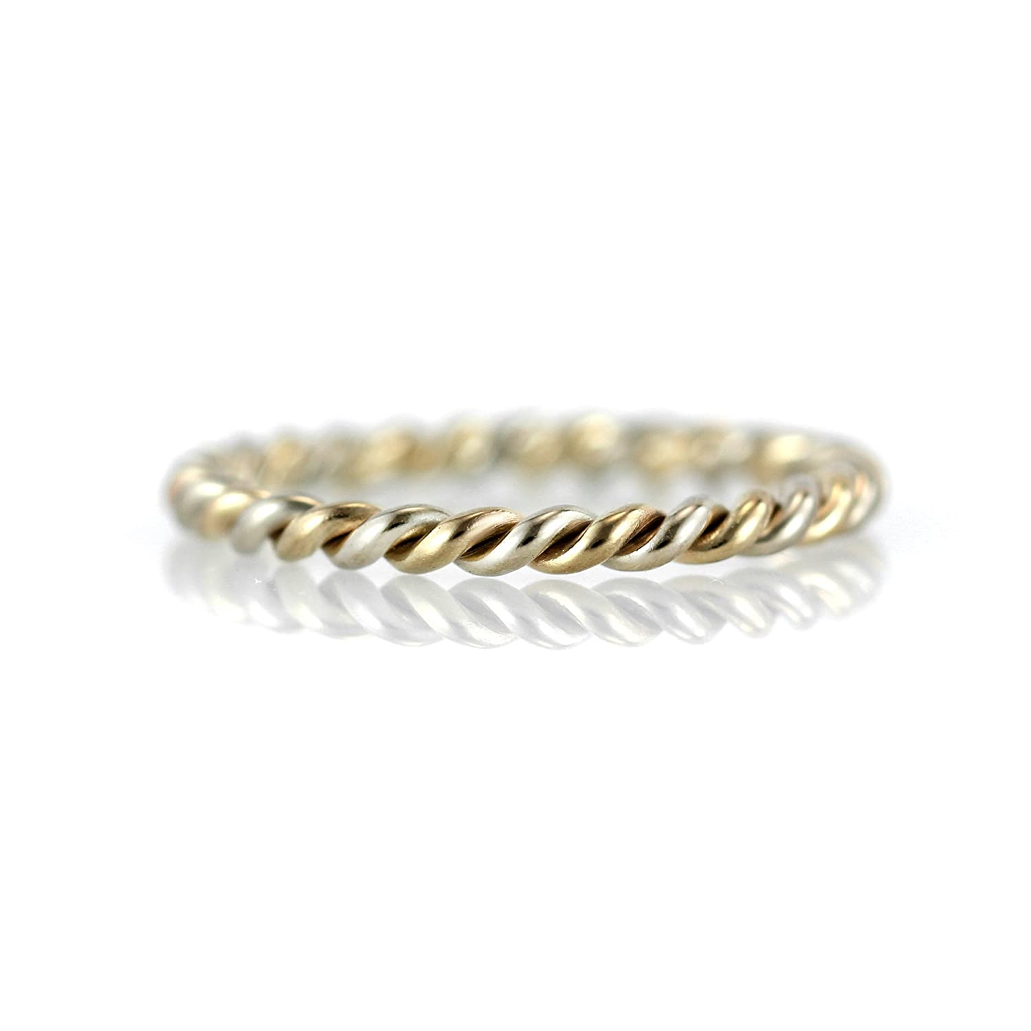 Amazon Two Tone Twisted Braided Rope Band Ring 14k Yellow White Gold Wedding Rose 950 Palladium Promise Stacking: Twisted Two Tone Wedding Bands At Websimilar.org