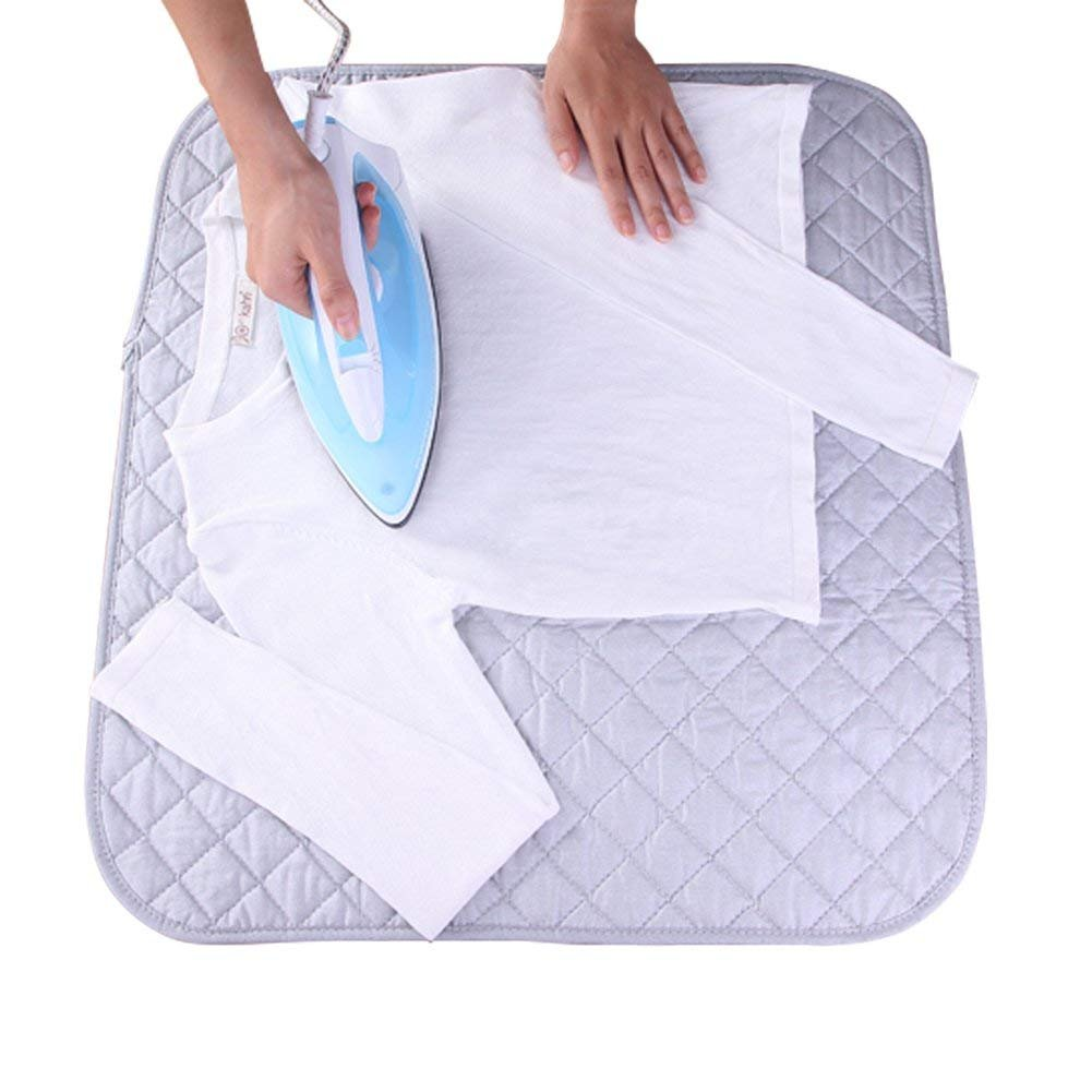 Samapete Folding Portable Table Top Ironing Mat Pad for Travel Life,Heat-Reflective Silver Coating Cotton,48 * 85cm (Ironning in Anywhere) iron mat 4885