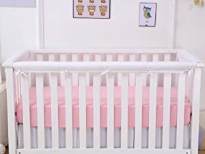 Belsden Microfiber Reversible Crib Rail Cover 3 Pieces Set for 1 Long and 2 Side Rails, Durable Padded Baby Teething Guard and Protector, Measuring up to 8 inches Around, White Color