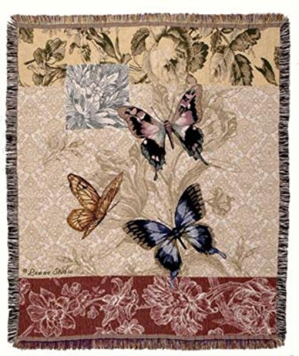 "CC Home Furnishings Floral Butterfly Tapestry Afghan Throw Blanket 50"" x 60"" from CC Home Furnishings"