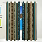 Vantaso Light Shading Window Curtains Abstract Blue Gold Leaves Polyester 2 Pannels for Kids Girls Boys Bedroom Living Room 84 inch x 55 inch