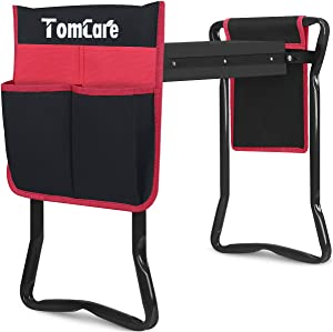 TomCare Garden Kneeler and Seat with 2 Tool Pouches Foldable Garden Tools Garden Bench Garden Stool Sturdy Garden with Soft Kneeling Pad Gardening Tools Gifts for Gardeners (Black)