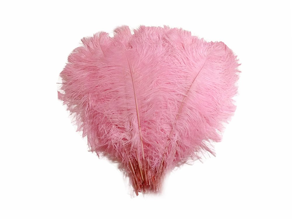 Moonlight Feather | 1/2 Lb - Light Pink Ostrich Tail Wholesale Feathers (Bulk)