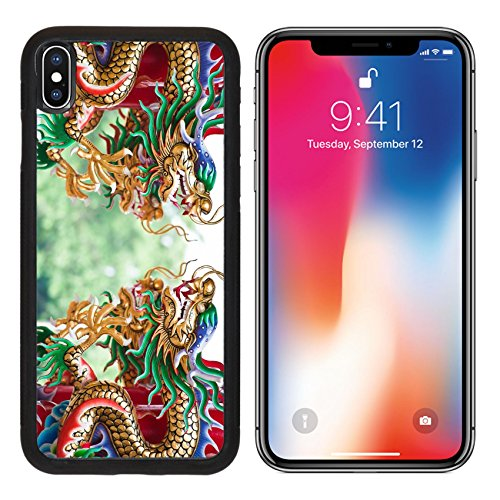 MSD Premium Apple iPhone X Aluminum Backplate Bumper Snap Case IMAGE ID: 10540069 Dragons in chinese - Temple 427