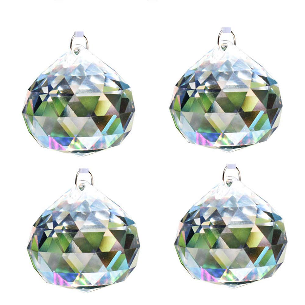 Aglife Sun Catcher Clear Crystal Ball Christmas Balls 50mm 2 inch,4 PCS+Hanging Kit
