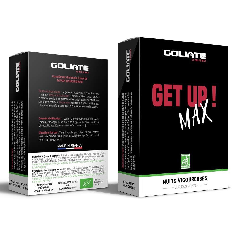 GOLIATE GET UP MAX estimulante sexual afrodisiaco para hombre - Refuerza la erección y el Rendimiento - complemento alimenticio 100% vegetal 100% ...