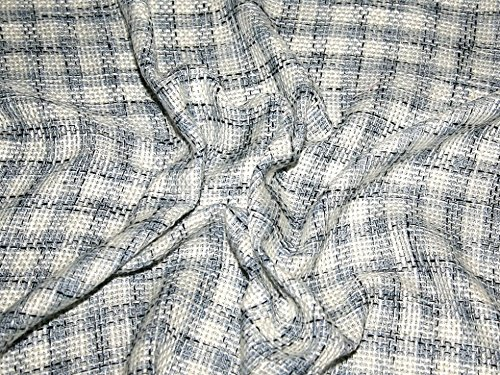 Tweed Check Dress Fabric Blue, Black & Ivory - per (Tweed Suiting)