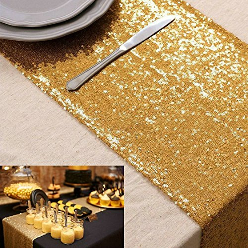 B-COOL Gold Sequins Table Runner 14