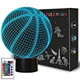 toy room ideas Basketball 3D Night Light Birthday Gift Lamp, Light Up Basketball Gifts 3D Illusion Lamp with Remote Control 16 Colors Changing Sport Fan Room Decoration Kids Room Idea