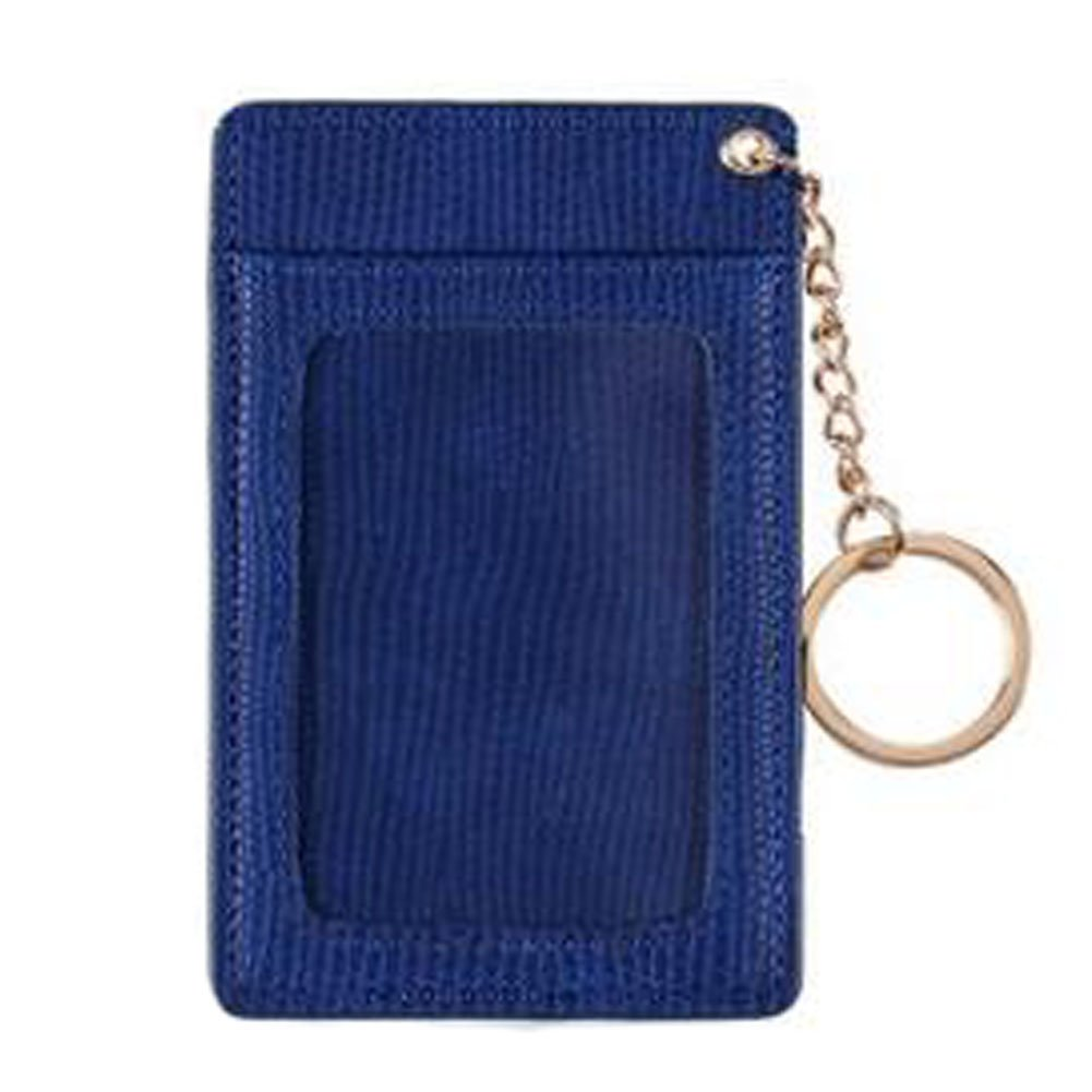 Practical ID Card Holder Card Case Keychain with 3 Card Slots PU, Blue Kylin Express