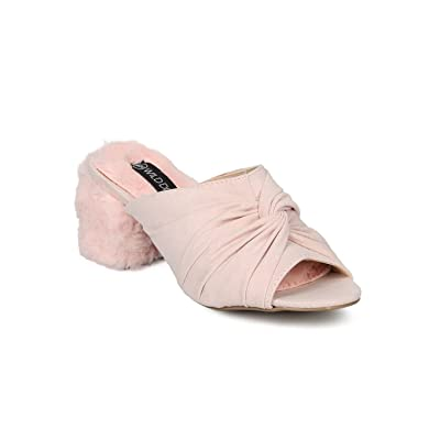 a021e207fc4b Alrisco Women Fur Block Heel Mule - Peep Toe Chunky Heel - Knotted Dressy  Trendy Block