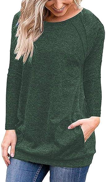Lalala Camiseta Basica Mujer Casual Sudadera Manga Larga Otoño ...