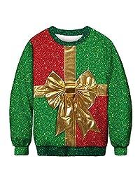 Coupondeal Women's Autumn Winter 3D Christmas Print Long Sleeve O-Neck Sweatshirt Blouse(Green,L Women)