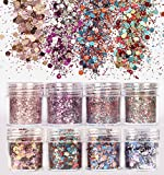 DaLin 8 Boxes Holographic Chunky Glitter Sequins Iridescent Flakes Ultra-thin Tips Colorful Mixed Paillette Festival Beauty Makeup Face Body Hair Nails Cosmetic Glitter (Color 2)