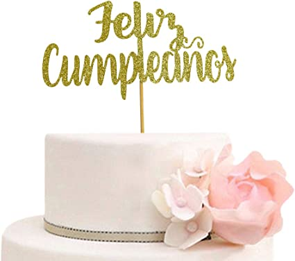 Amazon.com: Feliz Cumpleaños Cake Topper - Spanish Happy ...
