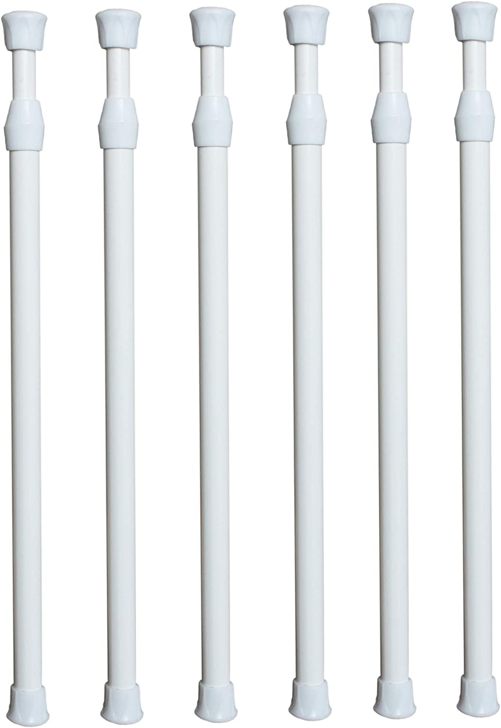 X-Haibei 6 Pack RV Refrigerator Cupboard Bar Spring Tension Rods, White Holds Food and Drinks in Place (15.8-28 INCH)