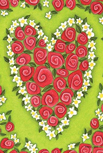 Toland Home Garden Heart Rose 28 x 40 Inch Decorative Red Valentine Flower House Flag ()