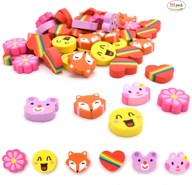 Gomas de Borrar Animales,Xiuyer 50 Piezas Mini Erasers Pack para Niños Regalo Fiesta Cumpleaños Navidad Escuela Papeleria Juguete Suministros: Amazon.es: Oficina y papelería