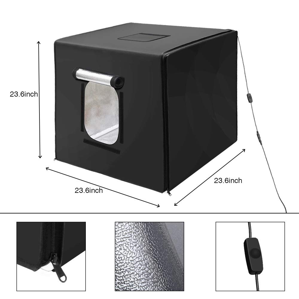 GVM Portable Photo Light Box, 24x24 inch/60x60 cm, Professional Photo Studio with LED Light, Foldable and Easy Set up Table Top Photo Lighting Studio, Photo Studio Kit for Photography by GVM (Image #5)