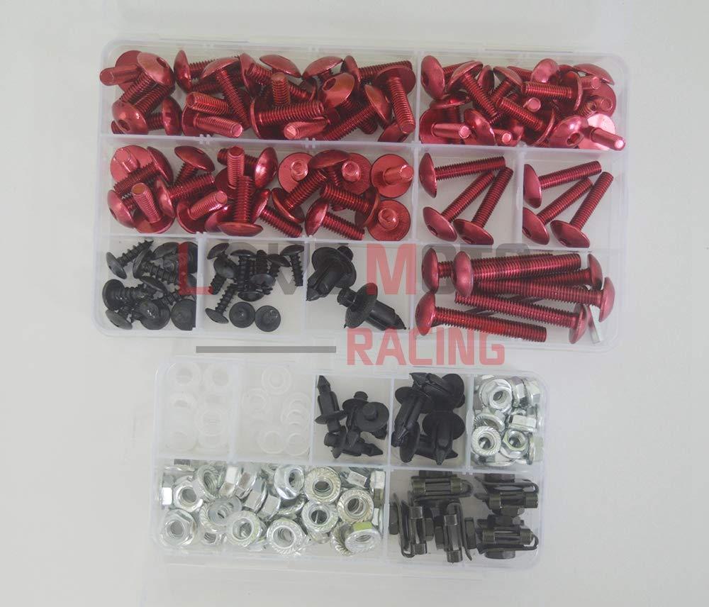 LoveMoto Full Motorcycle Fairings Bolt Screw Kits for Kawasaki ZX6R ZX-6R Ninja 636 2005 2006 Aluminium Screws Fastener Clips Black Silver