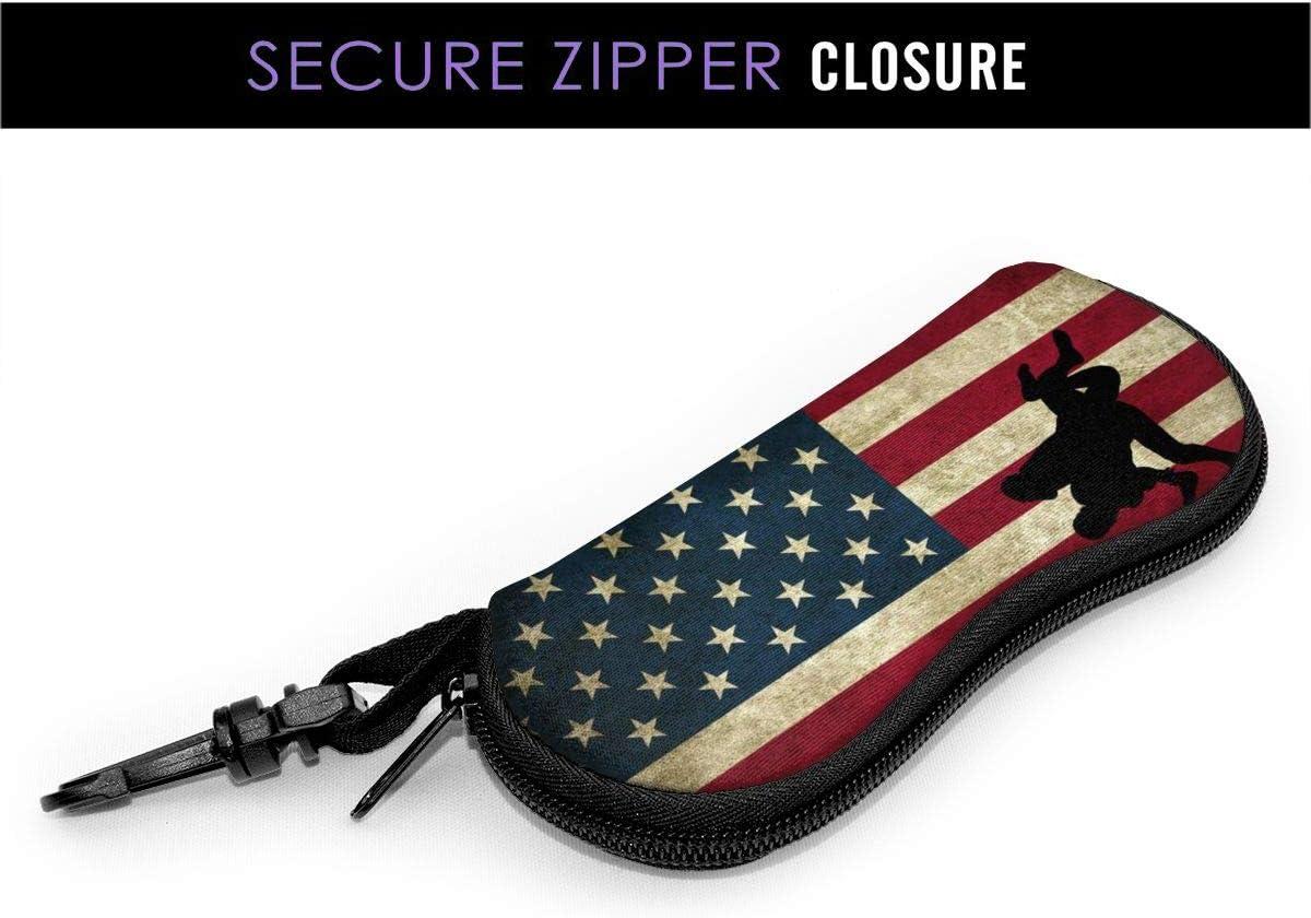 DGEGJD5S Wrestling American Flag Vintage Sunglasses with Lock Buckle Soft Bag Ultra Light Diving Fabric Zipper Glasses Case