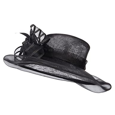 5a54445effc SS Hat crin Flower Feathers Sinamay Hat - Black OSFM at Amazon ...