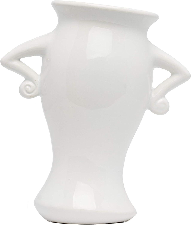 White Ceramic Vase, White vases for Decor - White Flower vase Handmade Decorative Vase, Hip, Elegant, Classy Tall Flower Vase for Flowers, White vases for Decor Farmhouse Decor, Living Room Decor