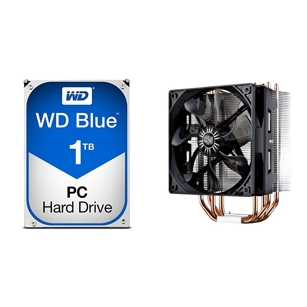 WD Blue 1TB SATA 6 Gb/s 7200 RPM 64MB Cache 3.5 Inch Desktop Hard Drive (WD10EZEX) with Cooler Master Hyper 212 EVO RR-212E-20PK-R2 CPU Cooler with 120mm PWM Fan bundle