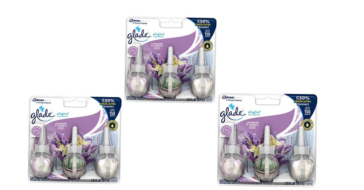 Glade PlugIns Scented Oil Refill Lavender & Vanilla, Essential Oil Infused Wall Plug in, Up to 50 Days of Continuous Fragrance, 2.01 FL OZ, Pack of 3 (3 Pack)